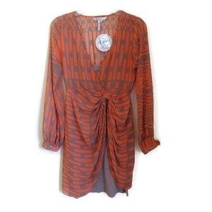 NWT BCBG Generation Orange Patterned Tulip Hem